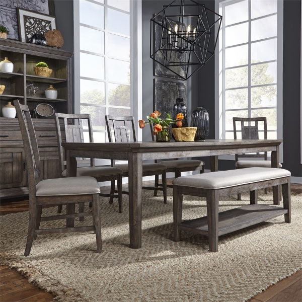 LIBERTY AGED OAK/GREY DINING TABLE (96X40X30), (4) LATTICE BACK DINING CHAIRS, BENCH SEATING (823-ARTISIAN PRAIRIE COLLECTION)