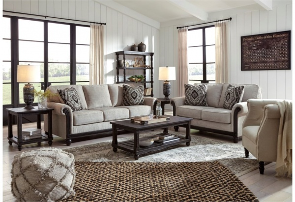 Sterling Plus - Living Room - Ashley - 77304 - Traditional Beige Sofa - Love Seat and Chair.