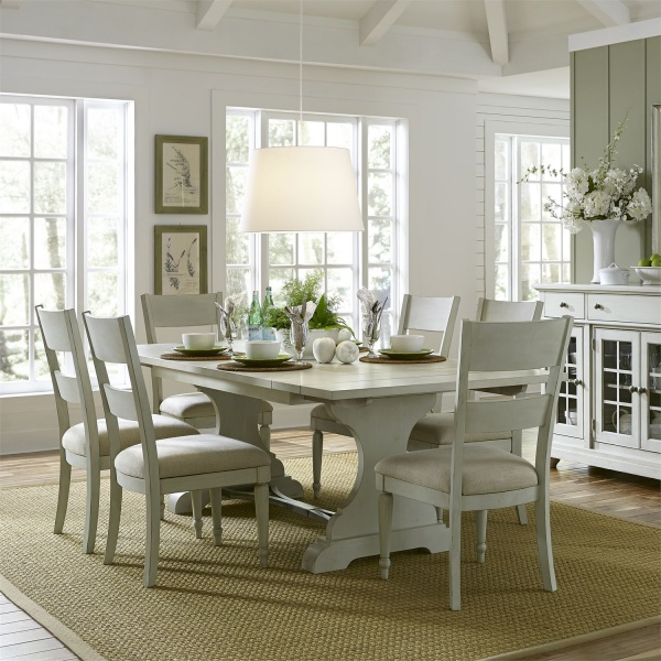 LIBERTY CASUAL COTTAGE DINING TABLE & CHAIRS - DOVE GREY FINISH - UPHOLSTERED CHAIR (LINEN) - 731-HARBOR VIEW III COLLECTION