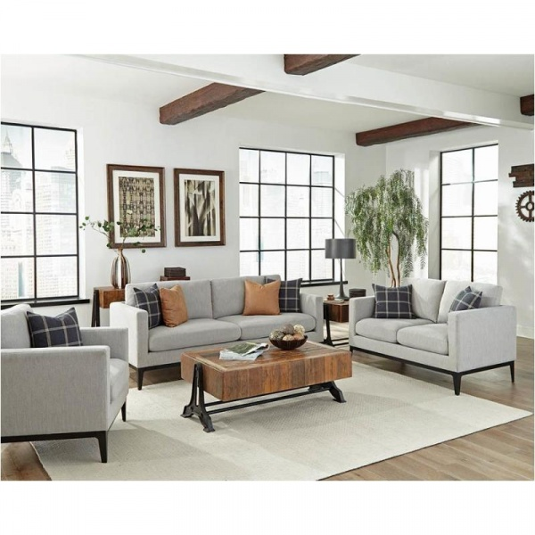 STERLING PLUS - LIVING ROOMS - COA-508841  CONTEMPORY GREY SOFA, LOVE SEAT AND CHAIR.