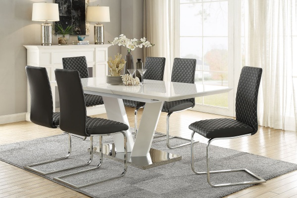 """35.5"""" X 63"""" - 78.5"""" Table Top.  Yannis Collection.  Ultra bright high gloss white finish with chrome base plate.  Grey bi-cast vinyl dining chairs with diamond pattern stiching."""