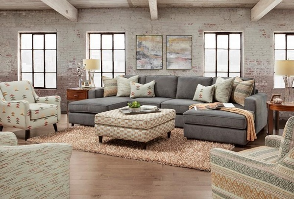 STERLING PLUS - LIVING ROOMS - FUSH-2061 - RAYMOUR DARK GREY CONTEMPORY SECTIONAL.