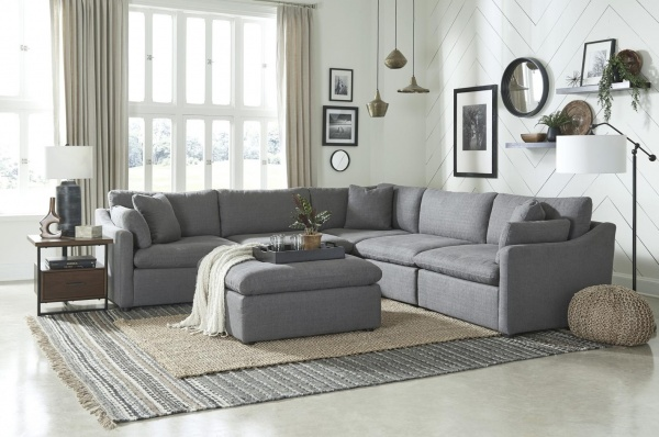 EXECUTIVE L/R - SNA-L9544GYX5SC - 5-PC GREY FABRIC MODULAR SOFA SECTIONAL - AS SHOWN:  LAF CHAIR W/PILLOW, 2-ARMLESS CHAIRS, CORNER W/PILLOW, RAF CHAIR W/PILLOW - HOWERTON COLLECTION