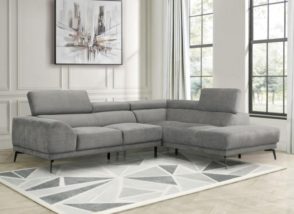 Sterling Plus - Living Rooms - Home Elegance - 9409 GRY - Grey Microfiber - RAF Chaise Sectioal.