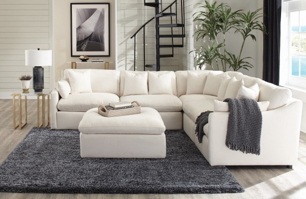 EXECUTIVE L/R OFF-WHITE FABRIC SECTIONAL AS SHOWN: LAF CHAIR, (2) ARMLESS CHAIRS, CORNER AND RAF CHAIR - COA