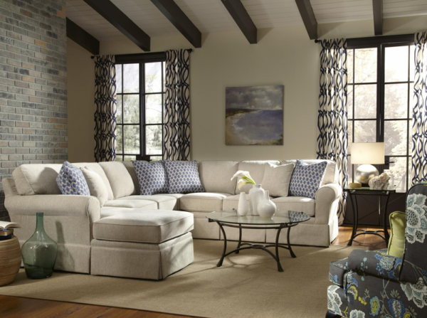 EXECUTIVE L/R 5-PC SOFA SECTIONAL - AS SHOWN: LAF CHAISE, TWO ARMLESS CHAIRS, WEDGE, AND RAF LOVESEAT.  TWO PILLOWS IN YOUR CHOICE OF FABRIC COME WITH EACH ARMED UNIT.. PILLOWS FOR THE WEDGE ARE SOLD SEPARATELY - ANNABELLE COLLECTION - BCH