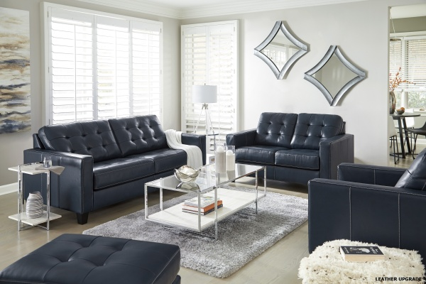 Sterling Plus - Living Rooms - Ashley - 87503 - Dark Blue - Leather Match Queen Sleeper, Sofa, Love Seat and Chair.