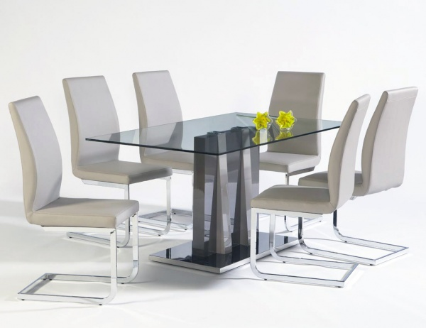 sterling plus dining room featuring modern rectangular table with six cream chairs with metal legs