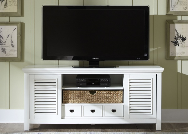 executive entertainment featuring white wooden tv stand with flatscreen tv