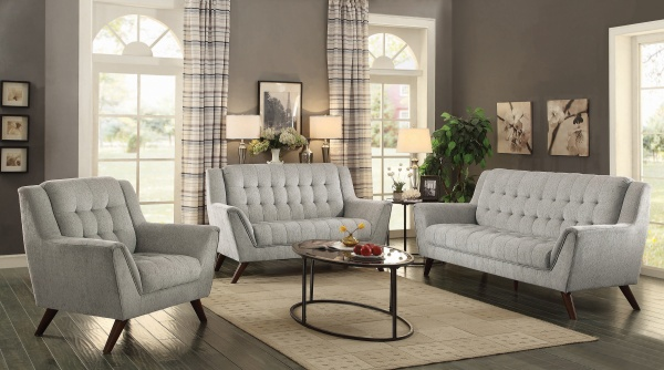 STERLING PLUS - LIVING ROOMS - COA-511031  MODERN GREY SOFA, LOVE SEAT AND CHAIR.