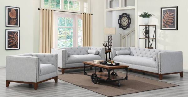 STERLING PLUS - LIVING ROOMS - COA-508511 - TRANSITIONAL GREY SOFA, LOVE SEAT AND CHAIR.