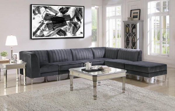 STERLING PLUS - LIVING ROOMS - COA - 551371 - CONTEMPORY BLACK MODULAR SECTIONAL.