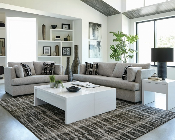 STERLING PLUS - LIVING ROOMS - COA-508601 NEUTRAL CONTEMPORY SOFA AND LOVE SEAT.