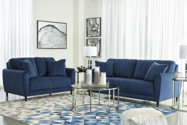 Sterling Plus - Living Rooms - Ashley 17801 Dark Blue Sofa and Love Seat