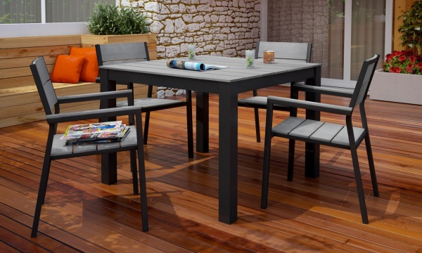 EXECUTIVE - PATIO - MOD-EEI-1745-BRN/GRY.  TABLE AND 4 CHAIRS.  BROWN / GREY.