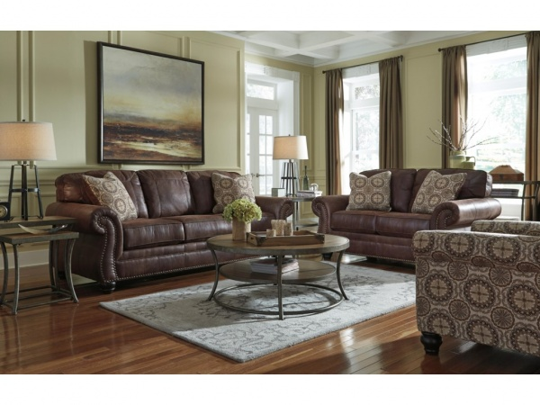 Sterling Plus - Living Rooms - Ashley - 80003 - Queen Sleeper, Sofa and Love Seat.  Dar Brown Leather Look.