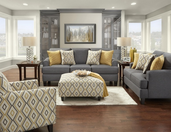 STERLING PLUS - LIVING ROOMS - FUSH-2600 - MAXELL GREY - SOFA, LOVE SEAT, CHAIR AND OTTOMAN.