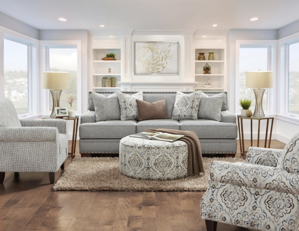 STERLING PLUS - LIVING ROOMS - FUSH-8700-KP - BATES CHARCOAL - SOFA, LOVE SEAT CHAIR AND OTTOMAN.