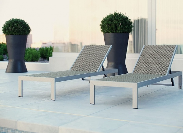 EXECUTIVE - PATIO - MOD-EEI-2250 SLV/GRY CHAISE LOUNGE