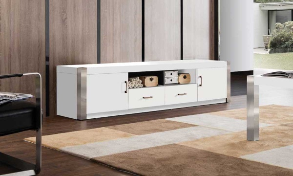 executive entertainment featuring white entertainment stand with metal accents