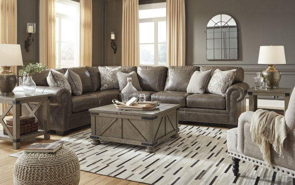 EXECUTIVE L/R LEATHER SECTIONAL - AS SHOWN LAF SOFA W/CORNER WEDGE, ARMLESS CHAIR, RAF LOVESEAT - ROLESON COLLECTION - ASH