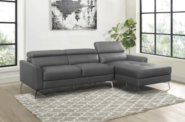 STERLING PLUS - LIVINGROOMS - SNA-L9408DGY CONTEMPORY BLACK LEATHER LOOK CHAISE SECTIONAL