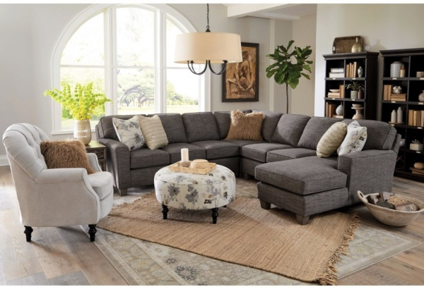 EXECUTIVE L/R AS SHOWN: BEVELED ARM LAF LOVESEAT, (2) ARMLESS CHAIRS, WEDGE, BEVELED ARM RAF CHAISE - DARK GREY FABRIC SECTIONAL - ANNABEL COLLECTION - BCH.