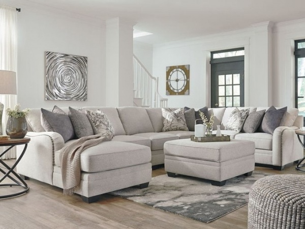 EXECUTIVE - LIVING ROOM - ASH-32101/16/46/34/77/56  SOFA SECTIONAL: LAF CORNER CHAISE, ARMLESS CHAIR, ARMLESS LOVESEAT, WEDGE & RAF LOVESEAT - ASH-DELLARA COLLECTION IN CHALK.