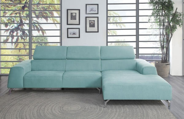 Sterling Plus - Living Room - Home Elegance - 9802 TL - Teal micro fiber fabric - RAF chaise sectional sofa.
