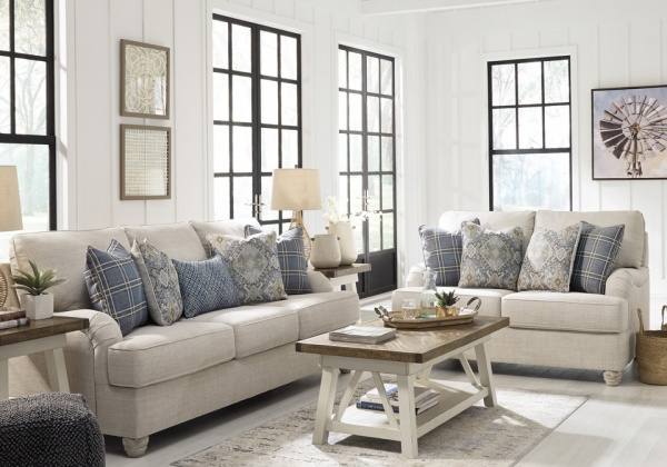 Sterling Plus - Living Rooms - ASHLEY - 27403 Beige / Blue sofa - Love Seat Chair