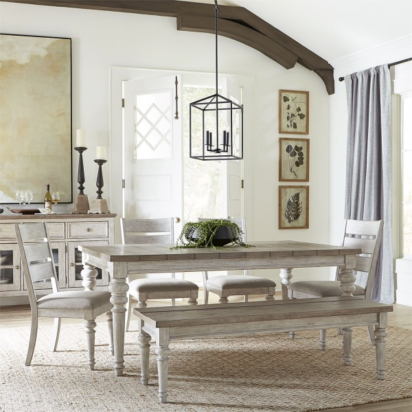 LIBERTY DISTRESSED ANTIQUE WHITE/TOBACCO TOP RECT DINING TABLE WITH (4) LADDERBACK UPH SIDE CHAIRS (GREY LINEN CHENILLE), AND BENCH 824-HEARTLAND COLLECTION