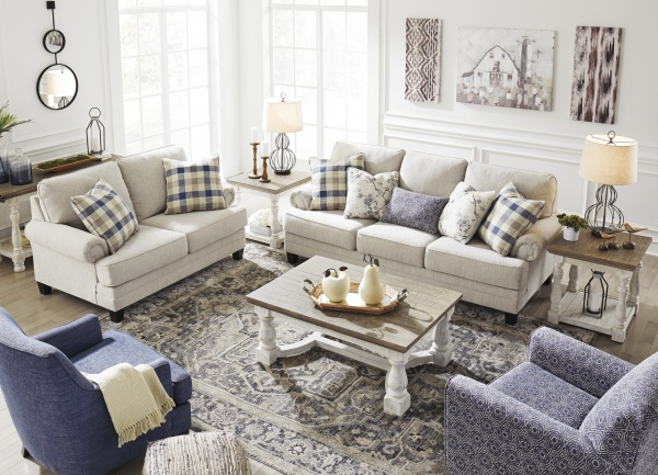 Sterling Plus - Living Rooms - Ashley - 19504 - Beige / Blue - Casual Sleeper, Sofa, Love Seat and Chair.