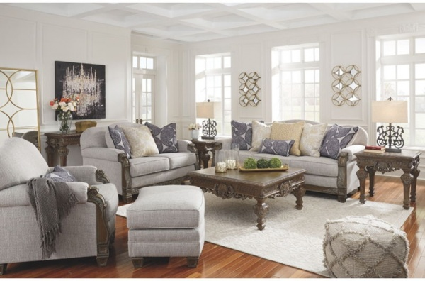 EXECUTIVE - LIVING ROOMS - ASHLEY-57701-38-35-20.  Traditional Sofa, Love seat and chair.