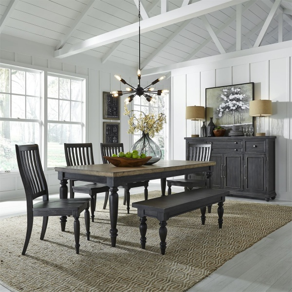 LIBERTY CHALKBOARD FINISH LEG DINING TABLE (82X40X30), WITH SLATBACK DINING CHAIRS (4), AND BACKLESS BENCH - 879-HARVEST HOME COLLECTION