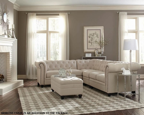 STRLING PLUS - LIVING ROOMS - COA - 500222 - NEUTRAL TRADITIONAL SECTIONAL.