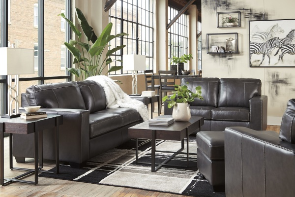Sterling Plus - Living Rooms - Ashley - 34503 - Dark Grey Leather Look Queen Sleeper, Sofa, Love Seat and Chair.