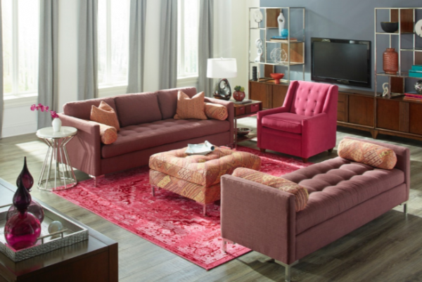 EXECUTIVE L/R - DOWN BLENDED FIBER SOFA AND TUFTED BENCH SEAT - UPTOWN COLLECTION.  ALSO SHOWN ACCENT CHAIR, AND CUSTOM OTTOMAN