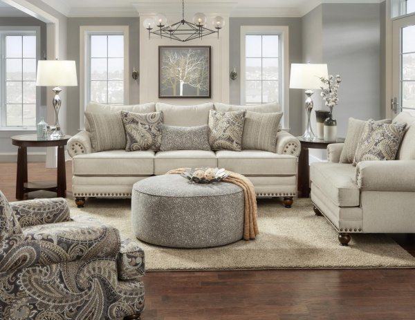STERLING PLUS - LIVING ROOMS - FUSH-2800-KP  CARYS DOE - TRADITIONAL SOFA, LOVE SEAT, CHAIR AND OTTOMAN.