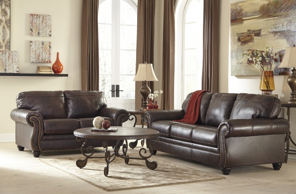 EXECUTIVE - LIVING ROOMS - ASHLEY-82202-38-35 TRADITIONAL  TOP GRAIN LEATHER MATCH SOFA AND LOVE SEAT.