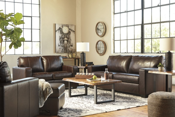 Sterling Plus - Living Rooms - Ashley - 34502  Leather match Queen Sleeper, Sofa, Love Seat and Chair - Dark Brown.