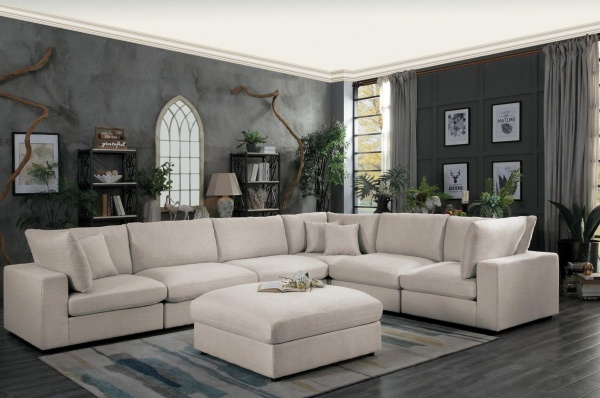 EXECUTIVE L/R - L9869XSC  6-PC NEUTRAL LIGHT GREY SOFA SECTIONAL - AS SHOWN: (2) CORNER UNITS, (3) ARMLESS CHAIRS AND OTTOMAN - CASORIA COLLECTION