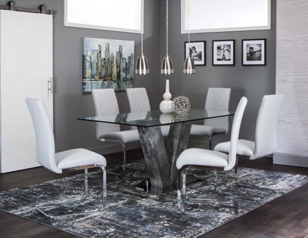 sterling plus dining room featuring grey v-shaped glass top table with six white leather chairs with metal legs