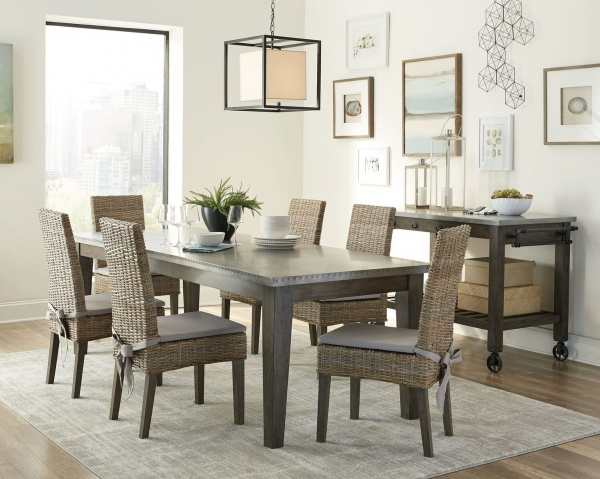executive dining room featuring rectangular wooden dining room table with six wicker chairs with grey seats