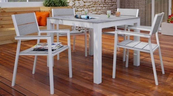 EXECUTIVE - PATIO - MOD-EEI-1745-WHI/GRY  TABLE AND 4 CHAIRS -WHITE/GREY.