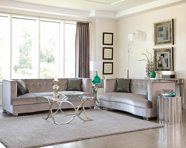 EXECUTIVE L/R - SILVER VELVET SOFA AND LOVESEAT - HOLLYWOOD GLAM COLLECTION - COA