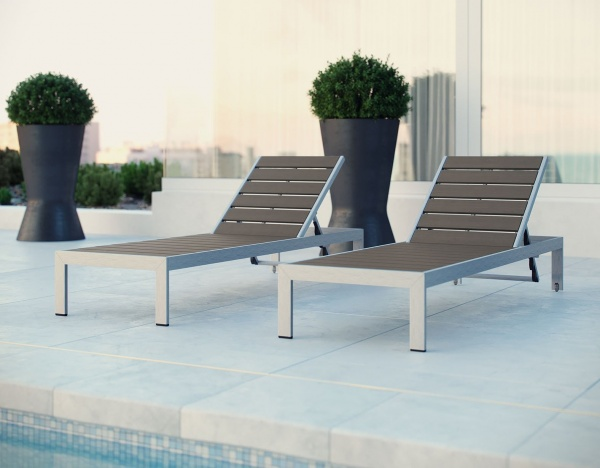 EXECUTIVE - PATIO - MOD-EEI-2247-SLV/GRY.  CHAISE LOUNGES - SILVER / GRAY.