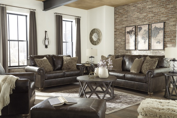 Sterling Plus - Living Rooms - Ashley - 80505 - Sleeper, Sofa, Love Seat and Chair.  Transitional Dar Brown Leather look.