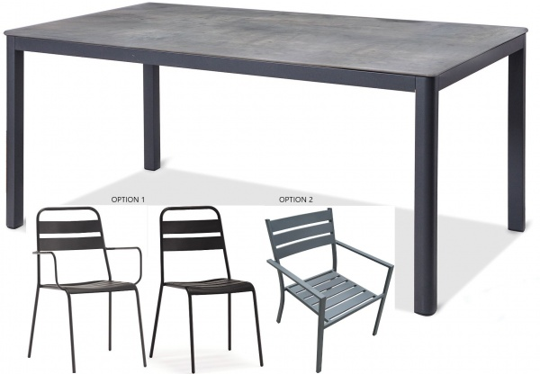 STERLING PLUS - PATIO - WTL- ANABEL TABLE / BELLE OR DENVER CHAIRS.  GRAY.