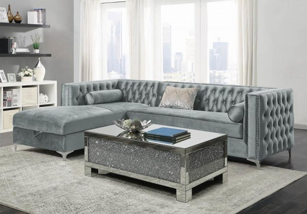 STERLING PLUS - LIVING ROOMS - COA-508280 - MODER SECTIONAL - GREY.