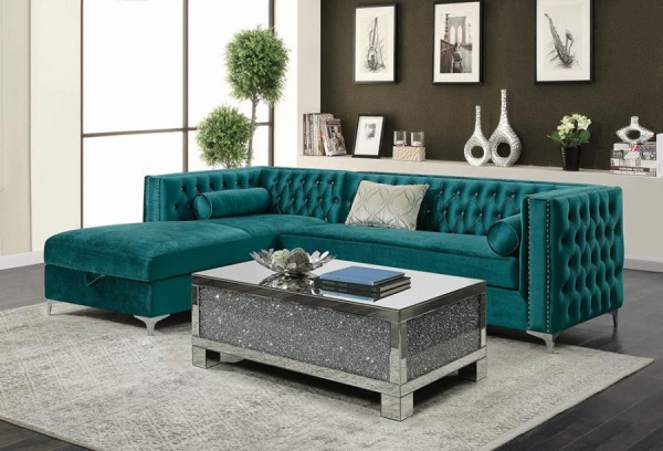 STERLING PLUS - LIVING ROOMS - COA-508380 EMERALD GREEN MODERN SECTIONAL.
